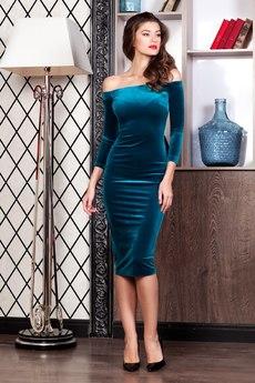 Бархатное платье с открытыми плечами RUXARA
