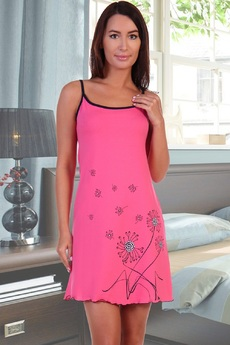 Розовая сорочка на бретельках Натали