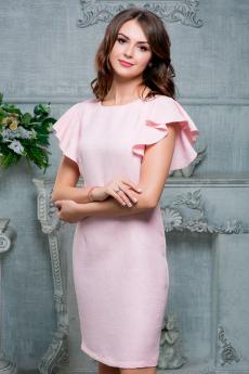 Новинка: розовое платье с воланами на рукавах Look Russian